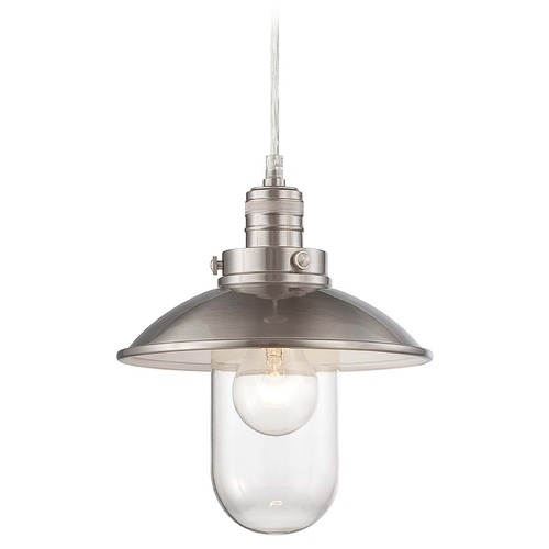 Minka Lavery Downtown Edison Brushed Nickel Mini-Pendant Light with Bowl / Dome Shade 4130-84