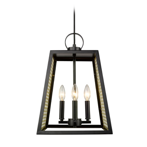 Golden Lighting Abbott 4 Light Pendant in Black with Satin Brass Mesh Panels 3239-4PBLK-SB