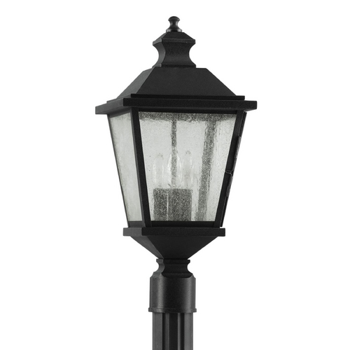 Home Solutions by Feiss Lighting Post Light with Clear Glass in Black Finish OL5707BK