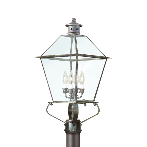 Troy Lighting Post Light with Clear Glass in Charred Iron Finish PCD8958CI