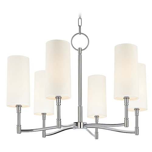Hudson Valley Lighting Modern Chandelier with White Shades in Polished Nickel Finish 366-PN