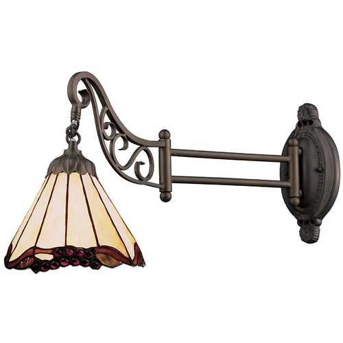 Elk Lighting Swing Arm Lamp with Tiffany Glass in Bronze Finish 079-TB-03