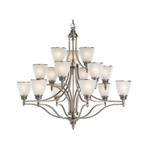 Sea Gull Lighting Chandelier with White Glass in Antique Brushed Nickel Finish 31352-965