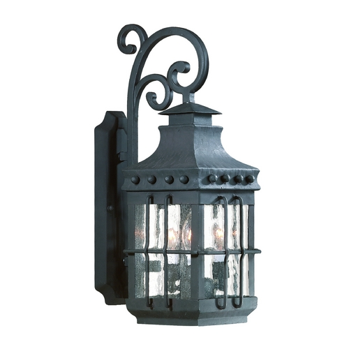 Troy Lighting Outdoor Wall Light with Amber Glass in Natural Bronze Finish B8971NB-D