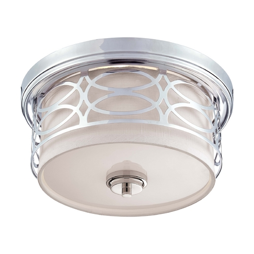 Nuvo Lighting Modern Flushmount Light with Grey Shade in Polished Nickel Finish 60/4627