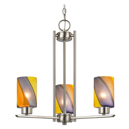 Design Classics Lighting Chandelier with Art Glass in Satin Nickel Finish - 3-Lights 1121-1-09 GL1015C