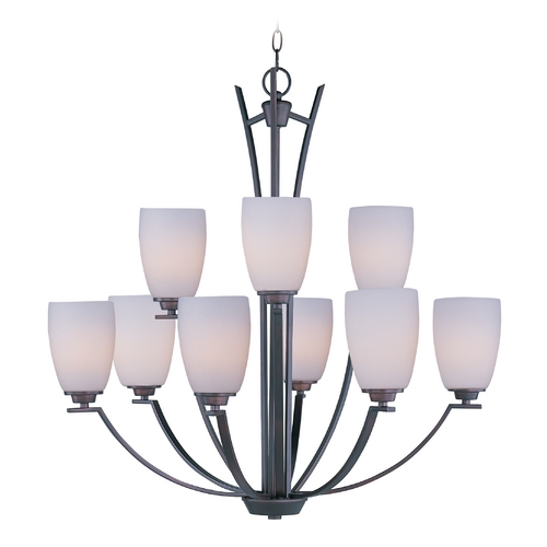 Maxim Lighting Modern Chandelier with White Glass in Oil Rubbed Bronze Finish 20026SWOI
