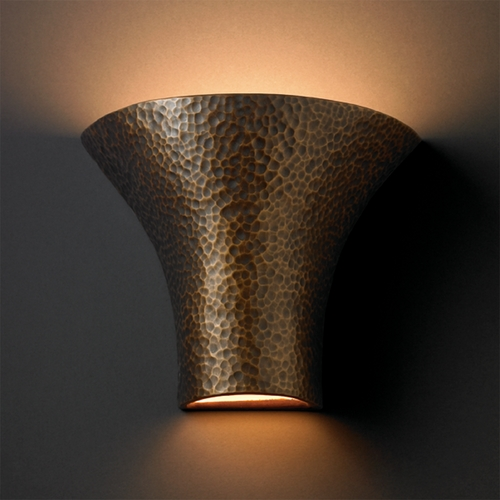 Justice Design Group Sconce Wall Light in Hammered Brass Finish CER-8811-HMBR