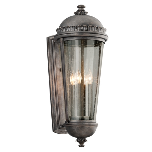 Troy Lighting Outdoor Wall Light with Clear Glass in Aged Pewter Finish B3564