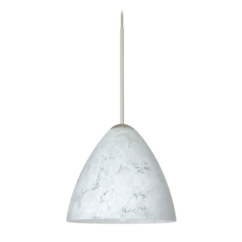 Besa Lighting Besa Lighting Mia Satin Nickel LED Mini-Pendant Light with Bell Shade 1XT-177919-LED-SN