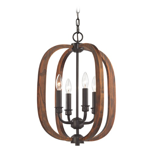Elk Lighting Elk Lighting Wood Arches Oil Rubbed Bronze, Red Oak Pendant Light 32140/4