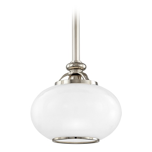 Hudson Valley Lighting Hudson Valley Lighting Canton Polished Nickel Mini-Pendant Light with Oval Shade 9809-PN