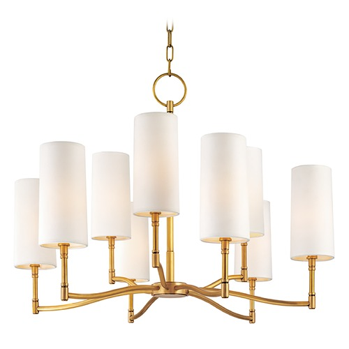 Hudson Valley Lighting Modern Chandelier with White Shades in Aged Brass Finish 369-AGB