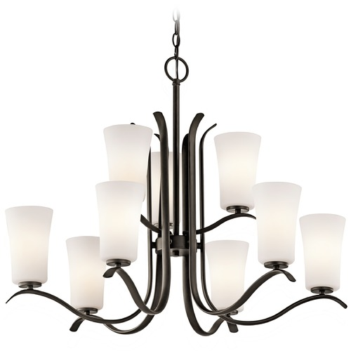 Kichler Lighting Kichler Chandelier with White Glass in Olde Bronze Finish 43075OZ