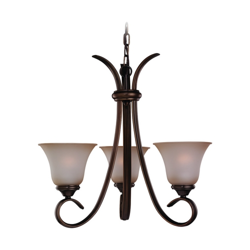 Sea Gull Lighting Mini-Chandelier with Beige / Cream Glass in Russet Bronze Finish 31360-829