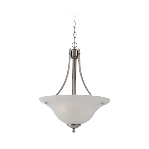 Sea Gull Lighting Pendant Light with Alabaster Glass in Brushed Nickel Finish 65941-962