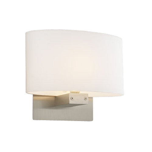 PLC Lighting Modern Sconce Wall Light with White Glass in Satin Nickel Finish 21118 SN