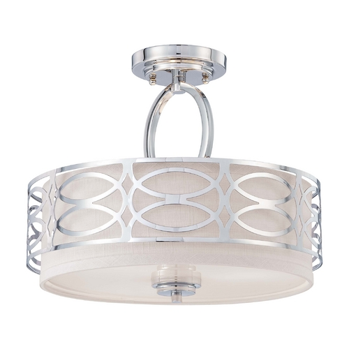 Nuvo Lighting Modern Semi-Flushmount Light with Grey Shade in Polished Nickel Finish 60/4629