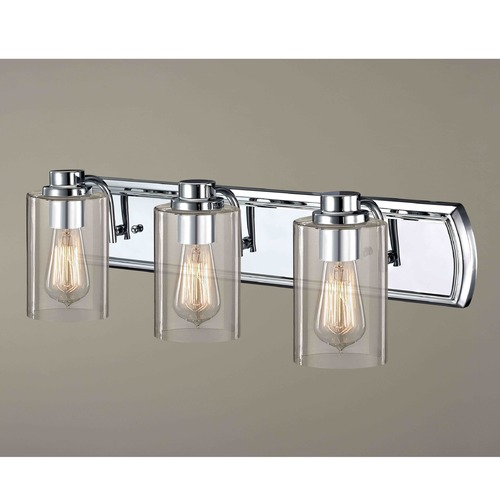 Design Classics Lighting Industrial 3-Light Vanity Light in Chrome 1203-26 GL1040C