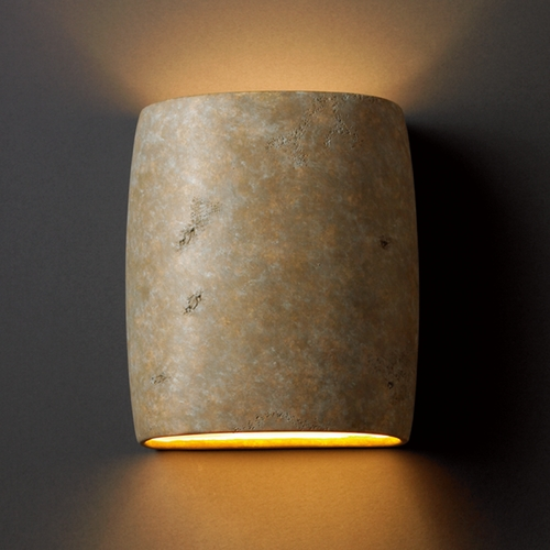 Justice Design Group Sconce Wall Light in Mocha Travertine Finish CER-8857-TRAM