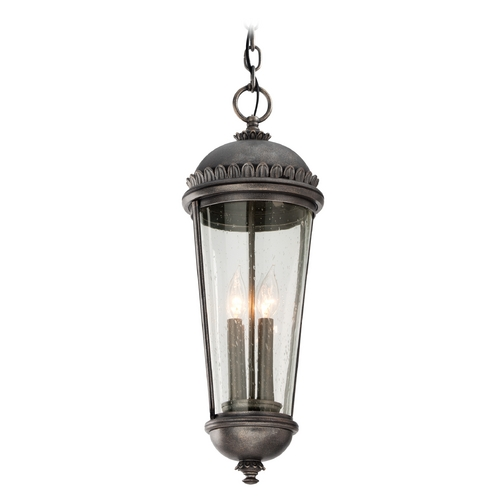 Troy Lighting Outdoor Hanging Light with Clear Glass in Aged Pewter Finish F3567