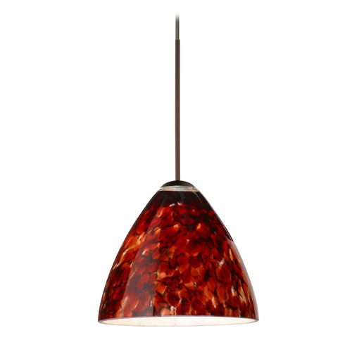 Besa Lighting Besa Lighting Mia Bronze LED Mini-Pendant Light with Bell Shade 1XT-177941-LED-BR