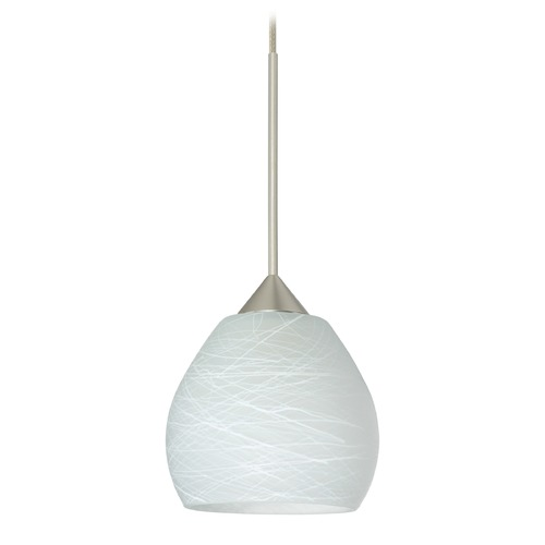 Besa Lighting Besa Lighting Tay Satin Nickel Mini-Pendant Light with Bell Shade 1XT-560560-SN