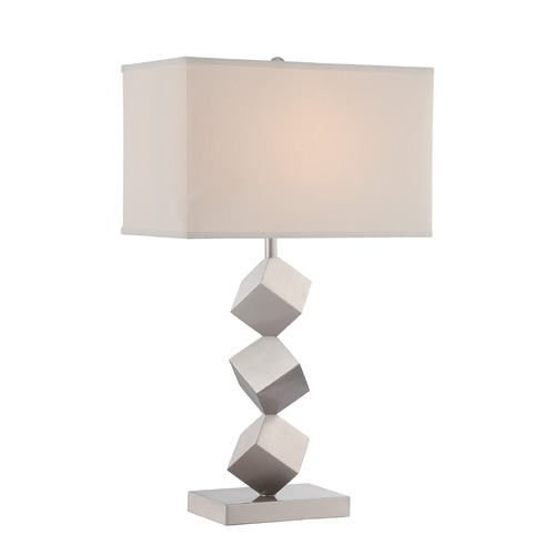 Lite Source Lighting Lite Source Lighting Agostino Satin Nickel Table Lamp with Rectangle Shade LS-22602
