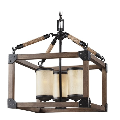 Sea Gull Lighting Sea Gull Lighting Dunning Stardust / Cerused Oak Pendant Light with Cylindrical Shade 3113303-846