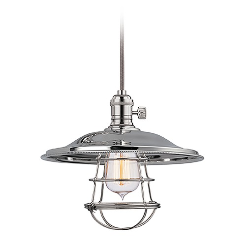 Hudson Valley Lighting Hudson Valley Lighting Heirloom Polished Nickel Pendant Light with Bowl / Dome Shade 8001-PN-MS2-WG