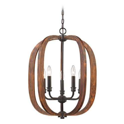 Elk Lighting Elk Lighting Wood Arches Oil Rubbed Bronze, Red Oak Pendant Light 32141/5