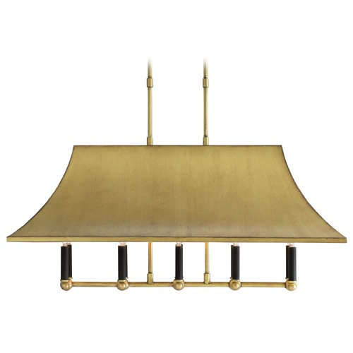 Currey and Company Lighting Mid-Century Modern Island Light Brass Glasgow by Currey and Company Lighting 9000-0043