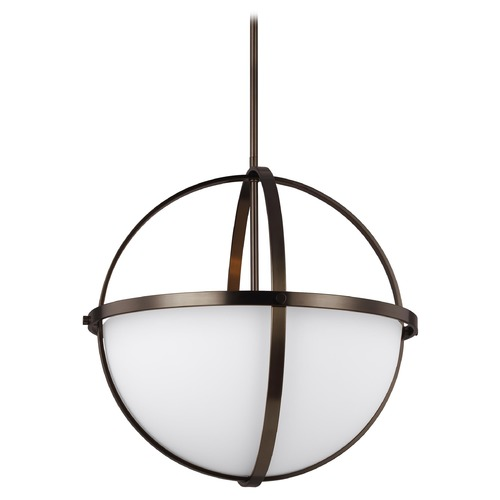 Sea Gull Lighting Sea Gull Lighting Alturas Brushed Oil Rubbed Bronze LED Pendant Light with Bowl / Dome Shade 6624603EN3-778