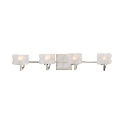 George Kovacs Lighting Modern Bathroom Light with White Glass in Polished Nickel Finish P5454-613