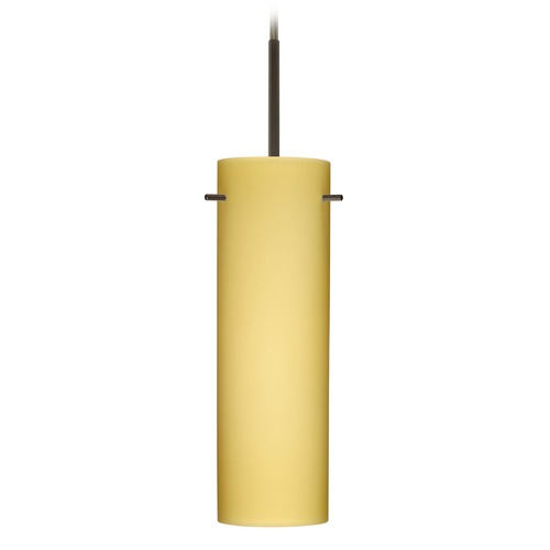 Besa Lighting Besa Lighting Copa Bronze Mini-Pendant Light with Cylindrical Shade 1BT-4930VM-BR