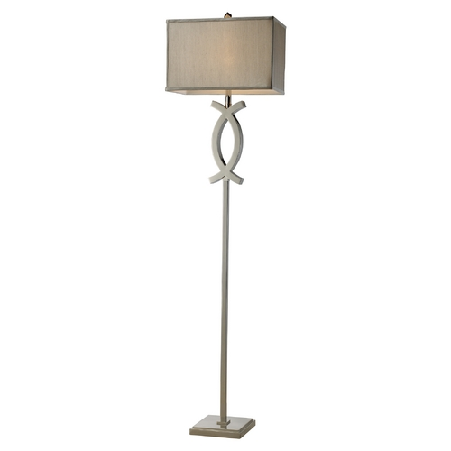 Elk Lighting Modern Floor Lamp with Grey Shade in Polished Nickel Finish D1865