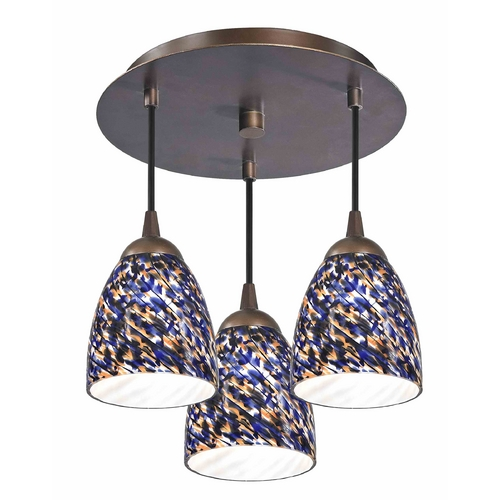 Design Classics Lighting 3-Light Semi-Flush Ceiling Light - Bronze Finish 579-220 GL1009MB