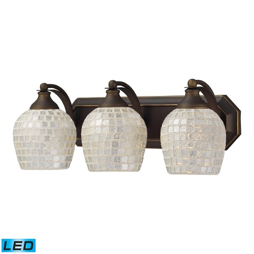 Elk Lighting Elk Lighting Bath and Spa Aged Bronze LED Bathroom Light 570-3B-SLV-LED