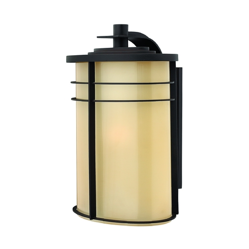 Hinkley Lighting Outdoor Wall Light with Yellow Glass in Museum Bronze Finish 1129MR