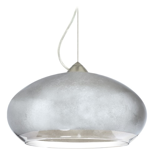 Besa Lighting Besa Lighting Brio Satin Nickel LED Pendant Light with Oblong Shade 1KX-4345SF-LED-SN