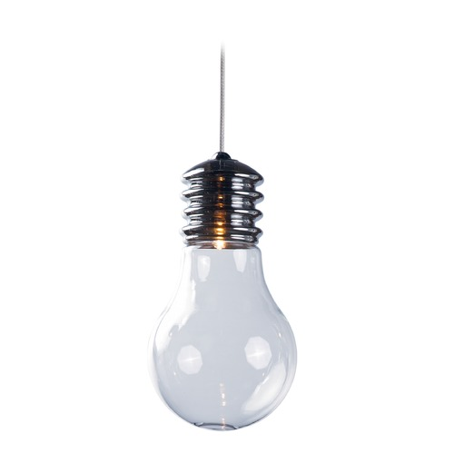 ET2 Lighting Edison Polished Chrome Mini-Pendant Light with Globe Shade E22690-18PC