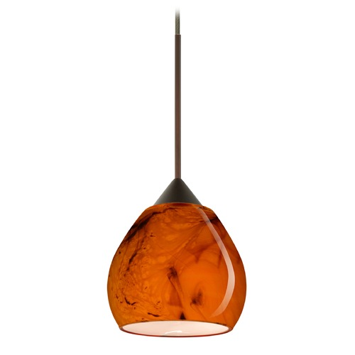 Besa Lighting Besa Lighting Tay Bronze Mini-Pendant Light with Bell Shade 1XT-5605HB-BR