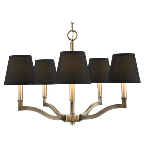 Golden Lighting Golden Lighting Waverly Aged Brass Chandelier 3500-5 AB-GRM