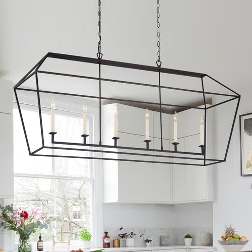 Quoizel Lighting Quoizel Lighting Aviary Palladian Bronze Island Light with Rectangle Shade AVY654PN