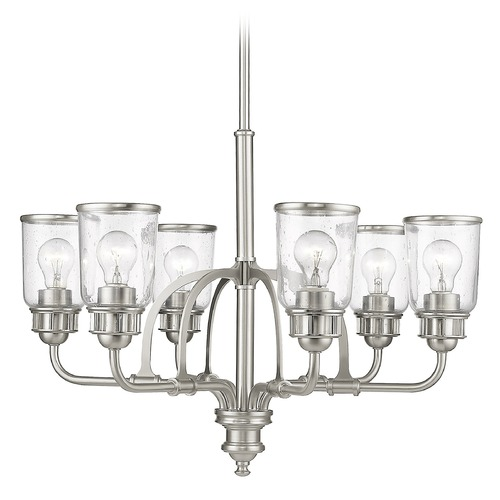 Livex Lighting Seeded Glass Chandelier Brushed Nickel Livex Lighting 40026-91