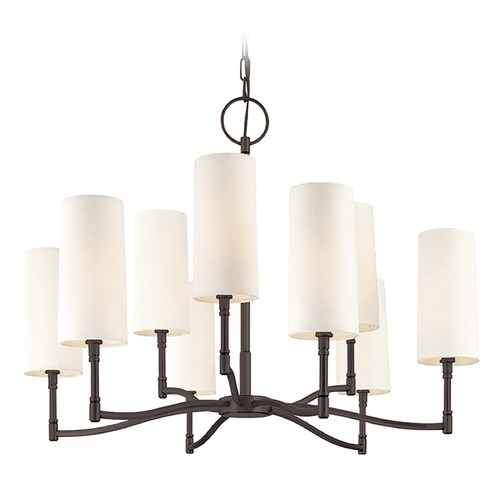 Hudson Valley Lighting Modern Chandelier with White Shades in Old Bronze Finish 369-OB