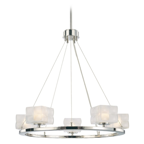 George Kovacs Lighting Modern Chandelier with White Glass Shade in Polished Nickel Finish P1455-613