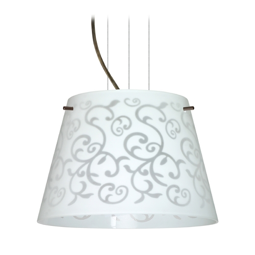 Besa Lighting Modern Drum Pendant Light with White Glass in Bronze Finish 1KG-4393WD-BR