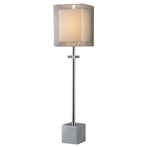 Elk Lighting Modern Table Lamp with Brown Shade in Chrome Finish D1408