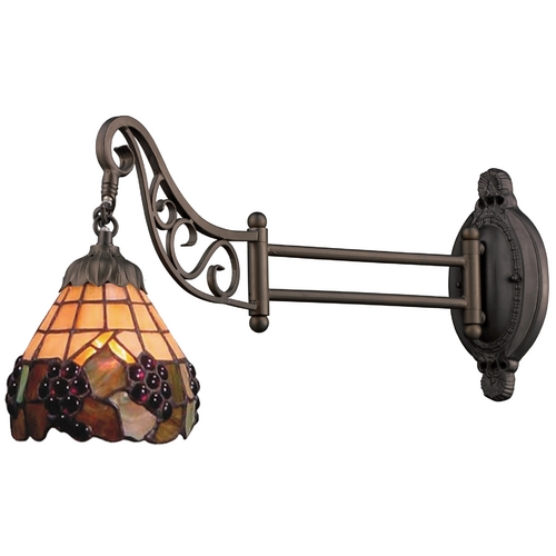 Elk Lighting Swing Arm Lamp with Tiffany Glass in Bronze Finish 079-TB-07